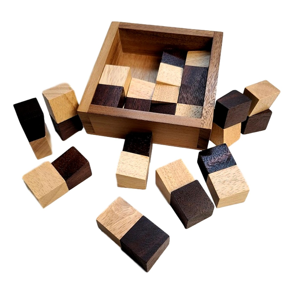 Devils Chessboard wood brain teaser puzzle 16pc